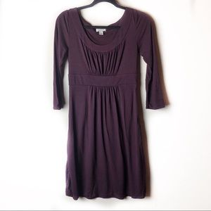 Ann Taylor LOFT Purple 3/4 Sleeve Dress